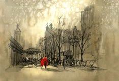 在红色走的夫妇在城市街道上  库存例证