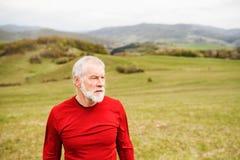 在红色运动衫的活跃资深赛跑者在自然休息 库存图片