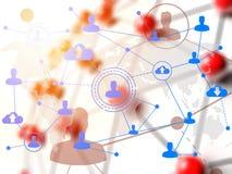 在红色连接的球形的社会网络技术 库存图片