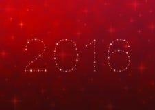 2016年从在红色迷离光的美丽的明亮的星与发光 库存例证