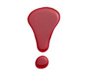 在红色钉子亮漆的惊叹号 免版税库存图片