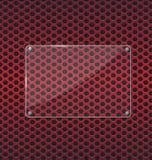 在红色铝技术背景的玻璃板 免版税图库摄影
