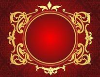 在红色锦缎样式背景的金框架 库存图片