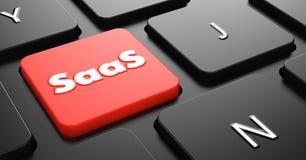 在红色键盘按钮的SAAS概念。 免版税库存图片