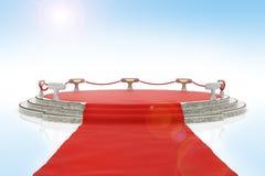 在红色阶段上的地毯 库存照片