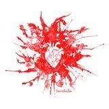 在红色飞溅的水彩心脏 库存图片