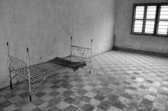 在红色高棉高中S-21拷打床 库存图片