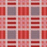 在红色,桃红色和灰色颜色的编织的无缝的样式 免版税库存照片