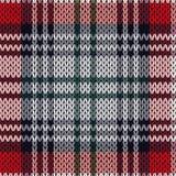 在红色,桃红色和灰色颜色的编织的无缝的样式 免版税图库摄影