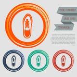 在红色,蓝色,绿色,橙色按钮您的网站的和设计的低鞋子象与空间发短信 免版税库存照片