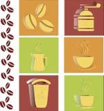 在红色,绿色和橙色背景的咖啡平的象 免版税图库摄影