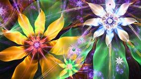 在红色,黄色,紫色,绿色的美好的明亮的生动的现代花背景 免版税库存照片