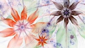 在红色,绿色,紫色,绿色的美好的淡色现代花背景 库存照片