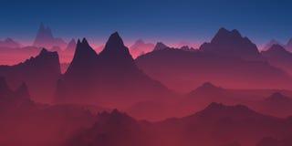 在红色阴霾的山 库存图片