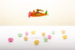 在红萝卜飞机的复活节兔子飞行 图库摄影