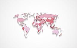 在红颜色的世界地图 库存例证