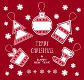 在红颜色的圣诞快乐和新年度标签 库存照片