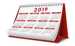 在红颜色的桌面日历2019年 库存照片