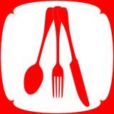 在红颜色的碗筷 库存照片