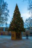 在约克公爵广场的装饰的圣诞树在伦敦英国 库存图片