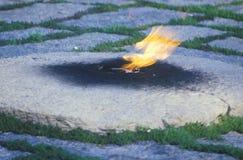 在约翰・肯尼迪,阿灵顿墓地,华盛顿特区,总统坟茔的永恒火焰 肯尼迪,阿灵顿公墓,华盛顿, D C 免版税库存图片
