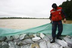 在纪录的最坏的洪水在巴尔干在塞尔维亚 免版税库存照片