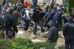 在纪录的最坏的洪水在巴尔干在塞尔维亚 免版税图库摄影