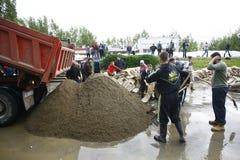 在纪录的最坏的洪水在巴尔干在塞尔维亚 库存图片