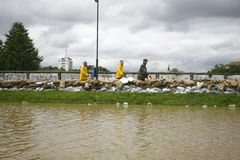 在纪录的最坏的洪水在巴尔干在塞尔维亚 库存照片