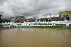 在纪录的最坏的洪水在巴尔干在塞尔维亚 图库摄影