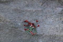 在纪念石头的花 库存照片