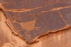 在纪念碑谷的刻在岩石上的文字 图库摄影