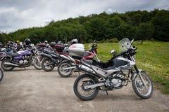 在纬度54的摩托车在乌斯怀亚,阿根廷 库存图片