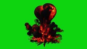 在纯净的绿色背景的大和强有力的起泡的红色爆炸 向量例证