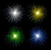在纯净的黑暗的背景中隔绝的五颜六色的烟花 庆祝欢乐装饰 库存例证