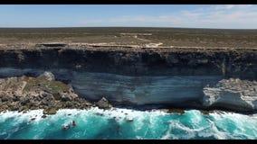 在纳拉伯平原边缘的伟大的澳大利亚海岸线 股票视频