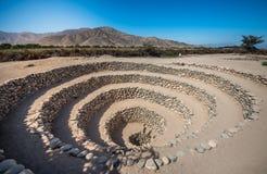 在纳斯卡,秘鲁附近的Cantalloc渡槽 免版税库存照片