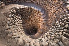 在纳斯卡,秘鲁附近的Cantalloc渡槽 库存照片