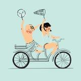 在纵排自行车的两个最好的朋友乘驾 平的设计 也corel凹道例证向量 查出 免版税库存照片