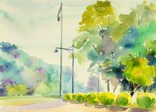 在纸五颜六色的水彩风景原始的绘画庭院 库存照片
