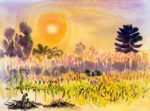 在纸五颜六色的绘画转换玉米,花 免版税库存图片