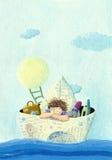 在纸小船的小男孩航行 免版税库存图片