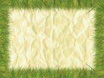 在纸张的草边界 免版税图库摄影