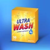 在纸板包裹传染媒介大模型的搽粉的洗涤剂设计 搽粉洗涤的化学制品,包装的洗涤,袋子,洗涤 皇族释放例证