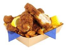 在纸板的南部的油煎的小鸡拿走盘子 免版税库存图片