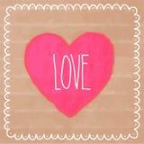 在纸板的桃红色水彩心脏 库存照片