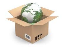 在纸板箱的地球 皇族释放例证