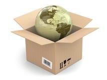 在纸板箱的地球 库存例证