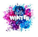 在纸样式的标志你好冬天在多色手拉的污点 免版税库存照片