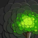 在纸样式的树在灰色背景污染了空气 生态口号的海报 向量例证